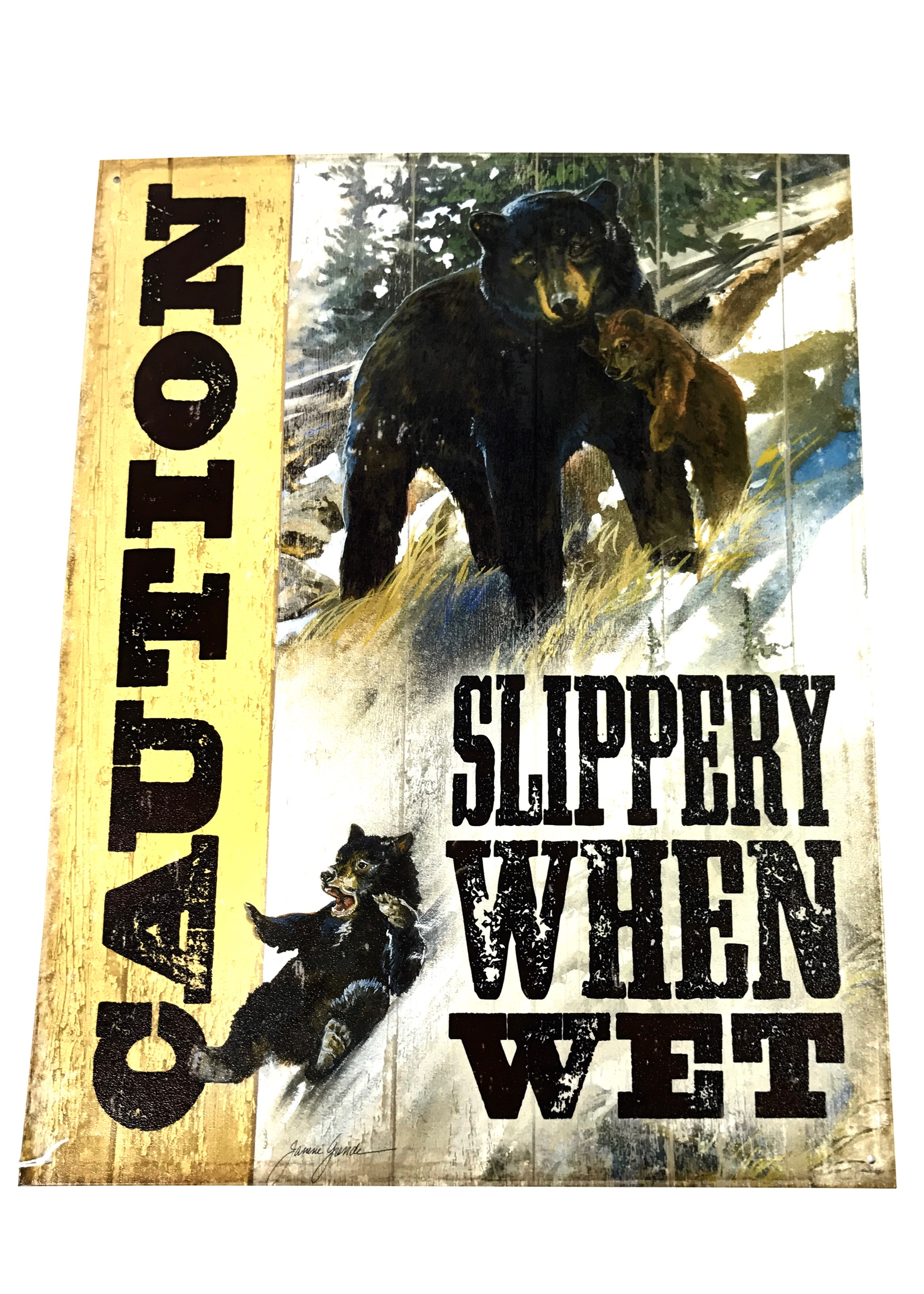(8319) Slippery When Wet Bear 12x16 Tin Sign