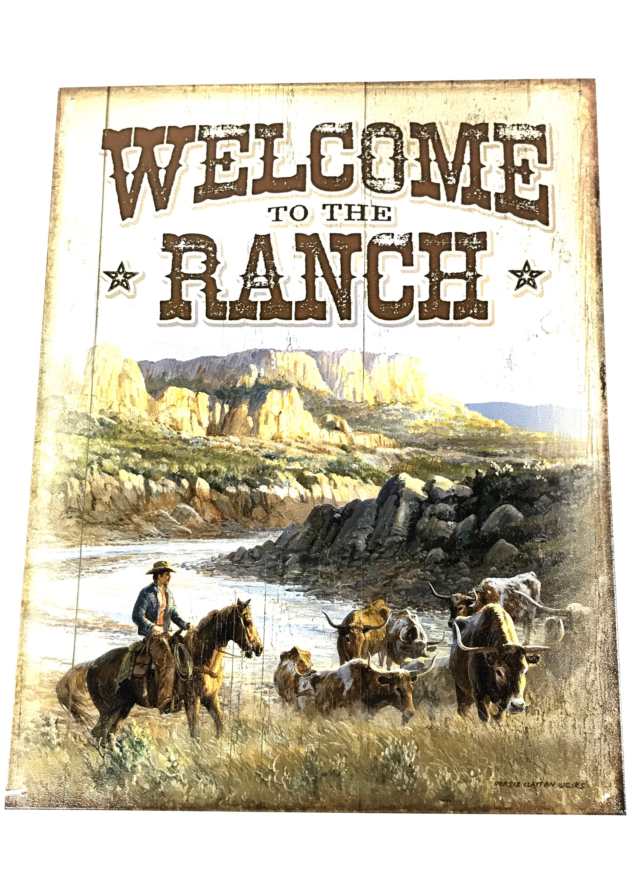(8308) Welcome Ranch 12x16 Tin Sign