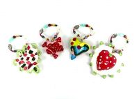 Playful Clay Collection Ornament - S/4 Hearts
