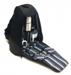 Camping Backpack W/thermos/Utensils - Black