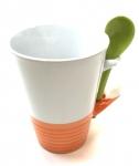 11 Oz Whitew/Orange Base & Spoon