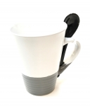11 Oz White w/Grey Base & Spoon