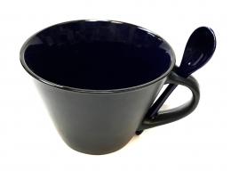 16 Oz Matte Mug W/Spoon - Maroon/Black