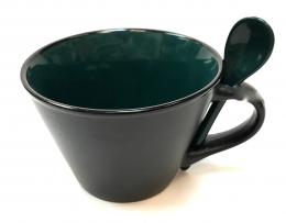 16 Oz Matte Mug W/Spoon - Green/Black