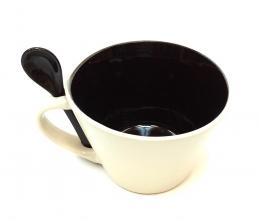 16 Oz Matte Mug W/Spoon - Brown/Black