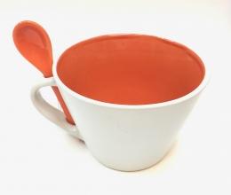 16 Oz Matte Mug W/Spoon - Orange/White
