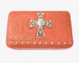 Fashion Wallet With Cross - Orange