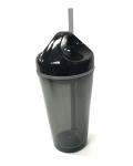 (0017480) Circle Lid Acrylic Tumbler 16 Oz - Smoke/Black