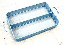 Large Divided Metal Tray Blue