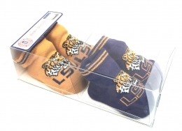 Boxed 2 Pk Baby Socks w/Grippers -  LSU
