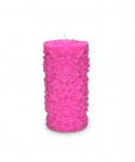 Dendritic Medium Pillar Candle Hot Pink