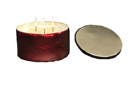 Red Bowl W/Cover Candle Berries