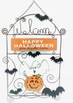 Rusty Hinge ghost & Pumpkin Metal Sign