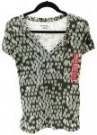 Green Print V-Neck Shirt - LARGE