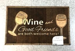 Rubber Pin Mat - Wine Good Friends 18x30